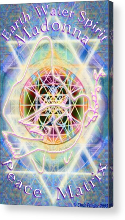 Atomic Acrylic Print featuring the digital art Earth Water Spirit Madonna Peace Matrix by Christopher Pringer