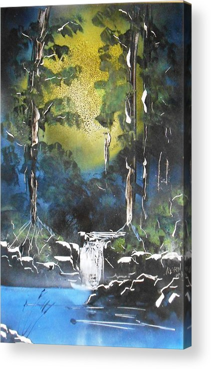 Sun. Forest Acrylic Print featuring the painting Forest Sun by Aaron Beeston