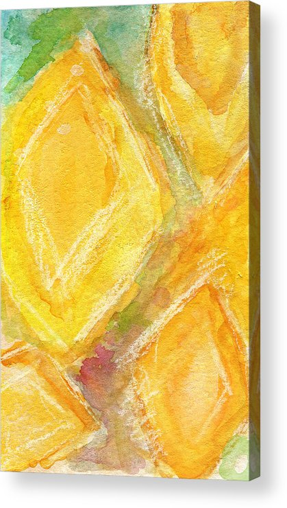 Abstract Painting Acrylic Print featuring the painting Lemon Drops by Linda Woods