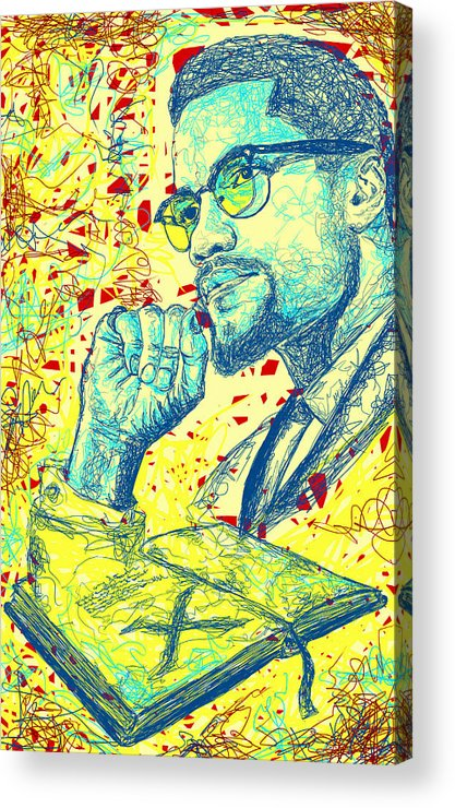 Malcolm X Drawing In Lines Acrylic Print featuring the drawing Malcolm X Drawing In Lines by Kenal Louis