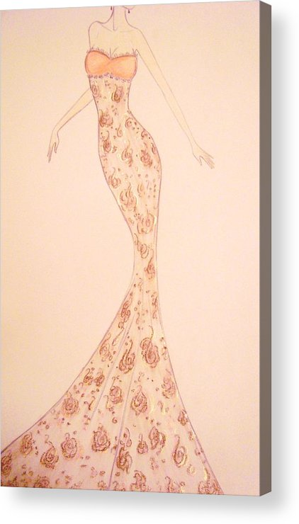 Damask Acrylic Print featuring the drawing Mandarin Damask Gown by Christine Corretti