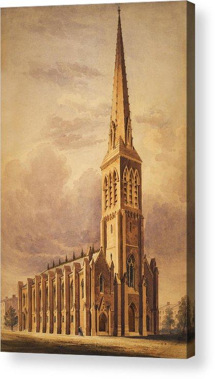 Church Acrylic Print featuring the painting Masonry Church Circa 1850 by Aged Pixel