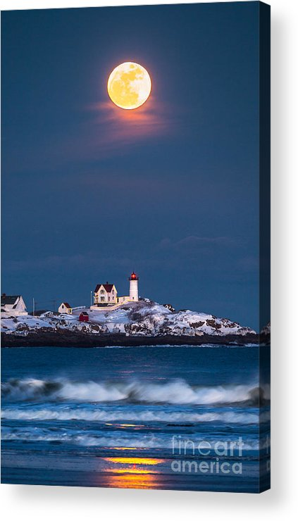 Cape Neddick Acrylic Print featuring the photograph Moon Over Nubble by Benjamin Williamson