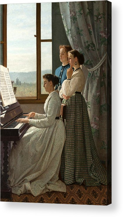 Silvestro Lega Acrylic Print featuring the painting Singing A Ditty by Silvestro Lega