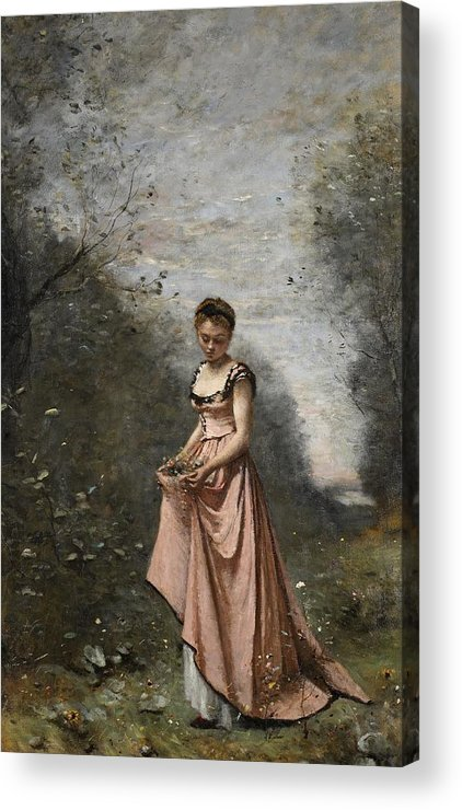 Female; Young Woman; Girl; Walking; Rural; Countryside; Woods; Collecting; Flowers; Dress; Serene; Tranquil; Peaceful; Youth; Youthful; Adolescent; Spring; Springtime Acrylic Print featuring the painting Springtime Of Life by Jean Baptiste Camille Corot