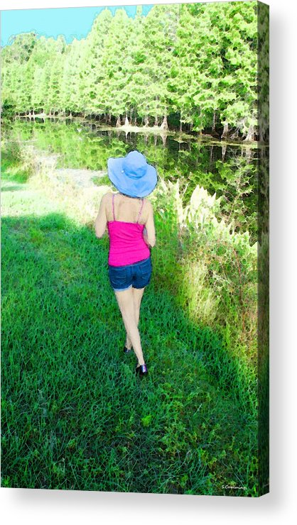 Sun Hat Acrylic Print featuring the painting Summer Stroll In The Park - Art By Sharon Cummings by Sharon Cummings