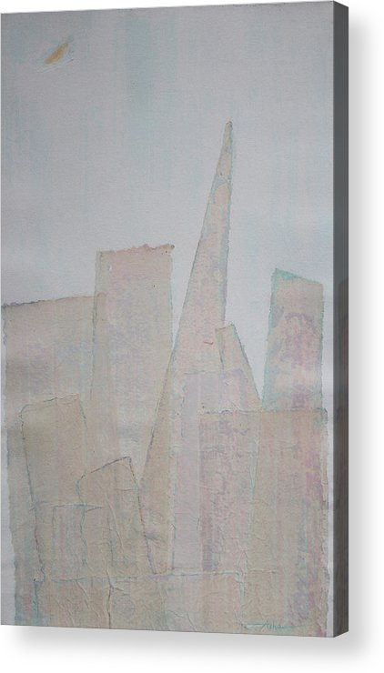Abstract Urban Painting Acrylic Print featuring the painting Hazy Fog Clearing Over San Francisco by Asha Carolyn Young