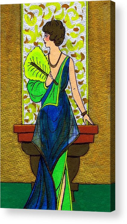 Nostalgia Acrylic Print featuring the drawing Fan Lady by Mel Thompson