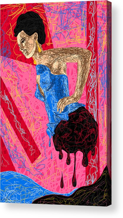 Fashion Abstraction De Angela Balderston Acrylic Print featuring the drawing Fashion Abstraction De Angela Balderston by Kenal Louis