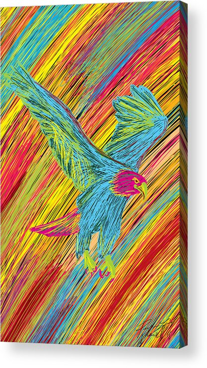 Furious Bold Bald Eagle Acrylic Print featuring the painting Furious Bold Bald Eagle by Kenal Louis