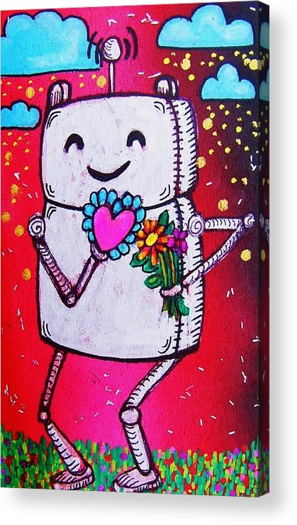 Robot Acrylic Print featuring the mixed media Happy Robot Friend by Nancy Mitchell