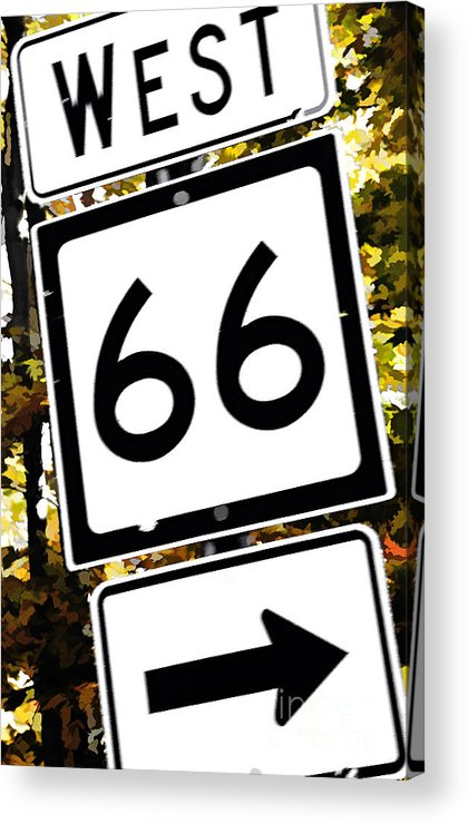 Highway Acrylic Print featuring the photograph Heading West On Route 66 by Kathleen K Parker