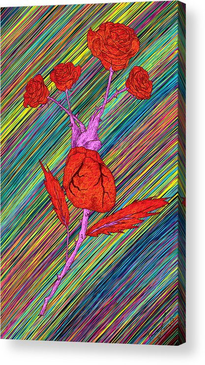 Heart Made Of Roses Acrylic Print featuring the painting Heart Made Of Roses by Kenal Louis