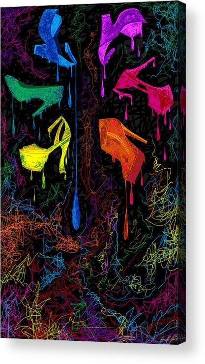 Les Couleur Des Chaussures Acrylic Print featuring the painting Les Couleur Des Chaussures Numero 1 by Kenal Louis