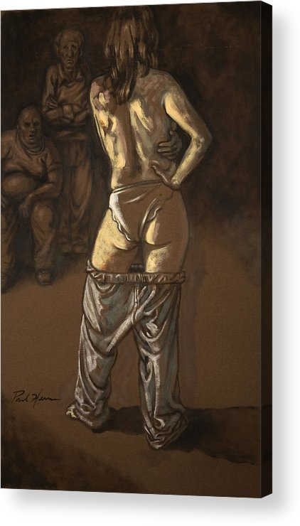 Nude Acrylic Print featuring the painting Angelique With Men by Paul Herman