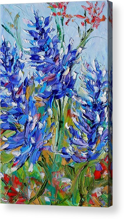 Bluebonnets Acrylic Print featuring the painting Bluebonnets Of Texas by Karen Tarlton