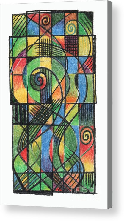 Celtic Acrylic Print featuring the drawing Celtic Cruciform by Andy Mercer