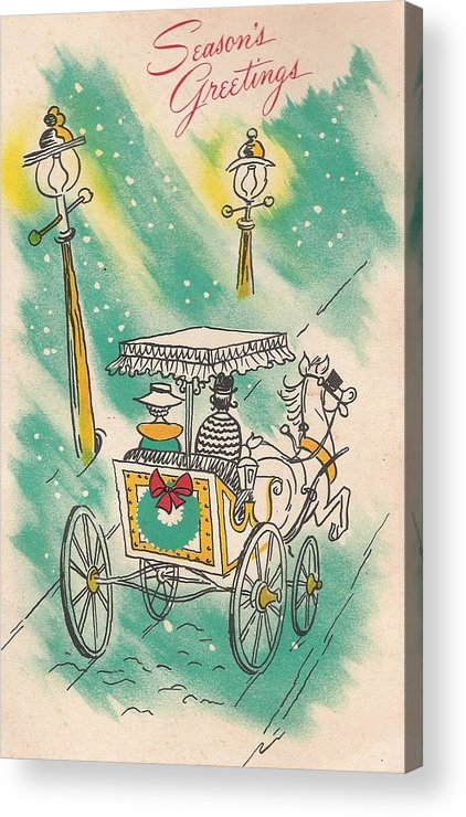 Horse Drawn Carriage Acrylic Print featuring the painting Christmas Illustration 1218 - Vintage Christmas Cards - Horse Drawn Carriage by TUSCAN Afternoon
