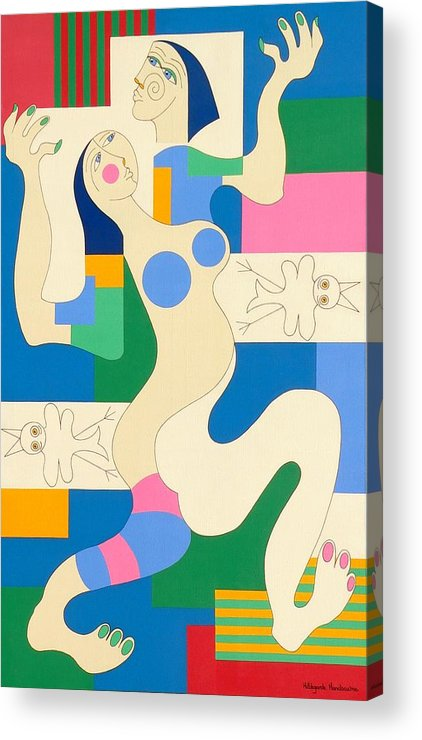 Modern Constructivisme People Birds Original Stylisme Acrylic Print featuring the painting Dancing by Hildegarde Handsaeme