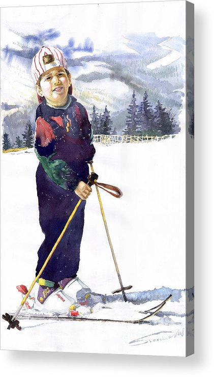 Watercolor Watercolour Figurative Ski Children Portret Realism Acrylic Print featuring the painting Denis 03 by Yuriy Shevchuk