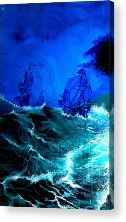 Seascape Acrylic Print featuring the painting Fight For Life by Glory Fraulein Wolfe