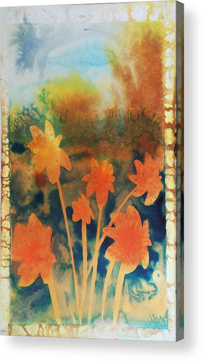 Flowers Bright Free Loose Blue Yellow Green Red Orange Acrylic Print featuring the painting Fire Storm In The Wild Flower Meadow by Amy Bernays