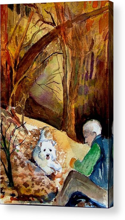 Landscape Acrylic Print featuring the painting His Golden Years by Mindy Newman