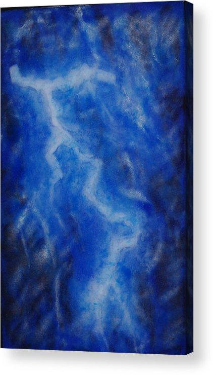 Blue Glass Fused Lightning Strike Frit Powder Sky Night \painting With Light\ Fritography Acrylic Print featuring the glass art It Seems The Wrath Of God by Louis Copper