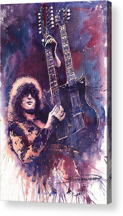 Watercolour Acrylic Print featuring the painting Jimmy Page by Yuriy Shevchuk