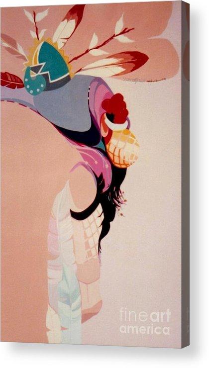 Kachina Acrylic Print featuring the painting Kachina 1 by Marlene Burns