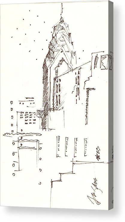 Liberty Place Acrylic Print featuring the drawing Liberty Place Philadelphia by Donna Frizano Leonetti