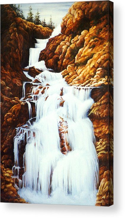 Waterfall Acrylic Print featuring the painting Little Firehole Falls by Teri Rosario