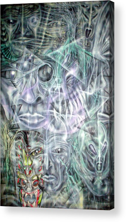 Contemporary Acrylic Print featuring the painting Mask Unfolding by Leigh Odom