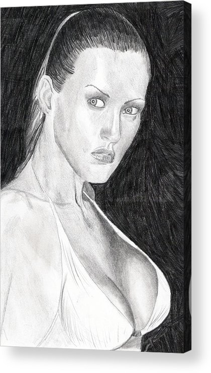 Nude Drawings Drawings Acrylic Print featuring the drawing Michelle by Michael McKenzie