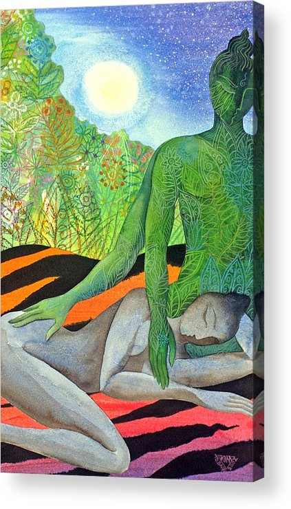 Moon Jungle Forestspirit Magical Mysterious Tropical Acrylic Print featuring the painting Moonrise by Jennifer Baird