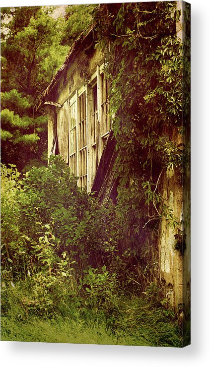 Abandoned Building Acrylic Print featuring the photograph Old Country Schoolhouse. by Kelly Nelson