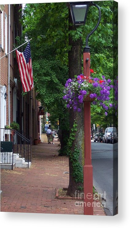 Cityscape Acrylic Print featuring the photograph Patriotic Street In Philadelphia by Debbi Granruth