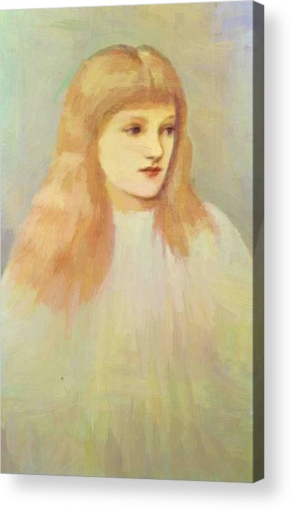 Portrait Acrylic Print featuring the painting Portrait Of Cecily Horner by BurneJones Edward