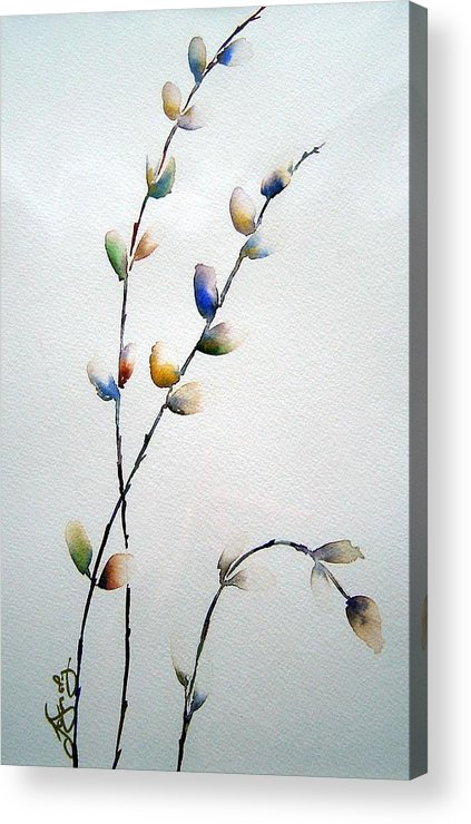 Pussy Willow Branches Acrylic Print featuring the painting Pussy Willows by Joanne Smoley