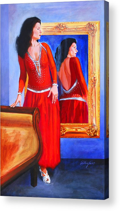 Red Dress Acrylic Print featuring the painting Red Dress by John Tartaglione
