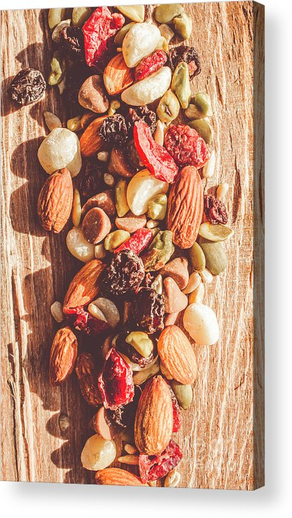 Rustic Acrylic Print featuring the photograph Rustic Dried Fruit And Nut Mix by Jorgo Photography - Wall Art Gallery