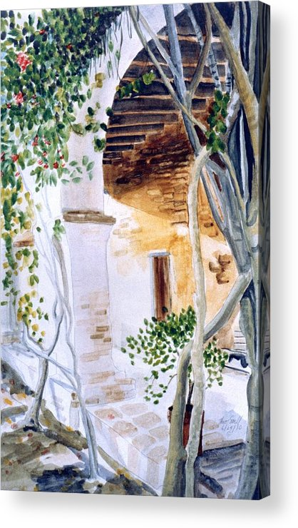 Ca Mission Acrylic Print featuring the painting San Juan Capistrano Under The Archway by Theo Snell