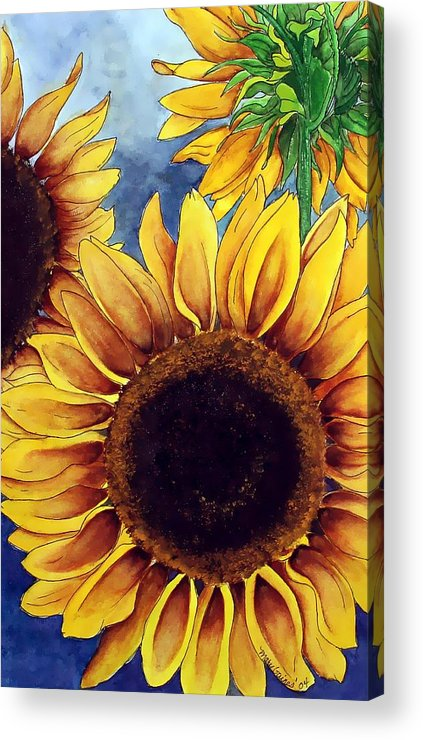 Watercolor Acrylic Print featuring the painting Sunny Sunflowers by Mary Gaines