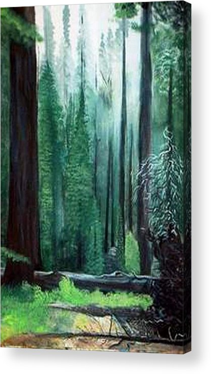 Landscape Acrylic Print featuring the painting Tall Trees by Julie Lamons