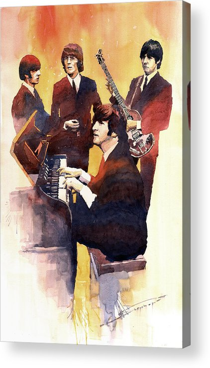 Watercolor Acrylic Print featuring the painting The Beatles 01 by Yuriy Shevchuk