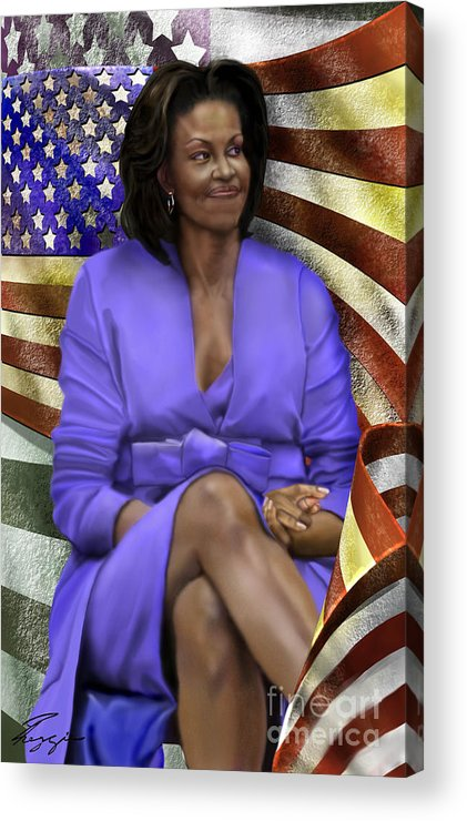 First Lady Acrylic Print featuring the painting The First Lady-american Pride by Reggie Duffie