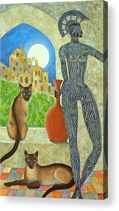 Siamese Cats Greek King Ancient City Full Moon  Acrylic Print featuring the painting The Kings Command by Jennifer Baird