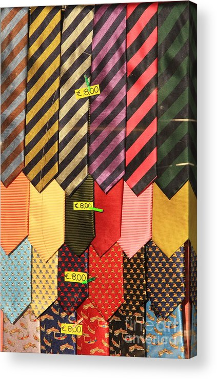 Neck Ties Acrylic Print featuring the photograph Ties In Shop Window In Venice by Michael Henderson