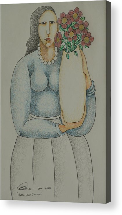 Sacha Acrylic Print featuring the drawing Woman With Vase 2006 by S A C H A - Circulism Technique