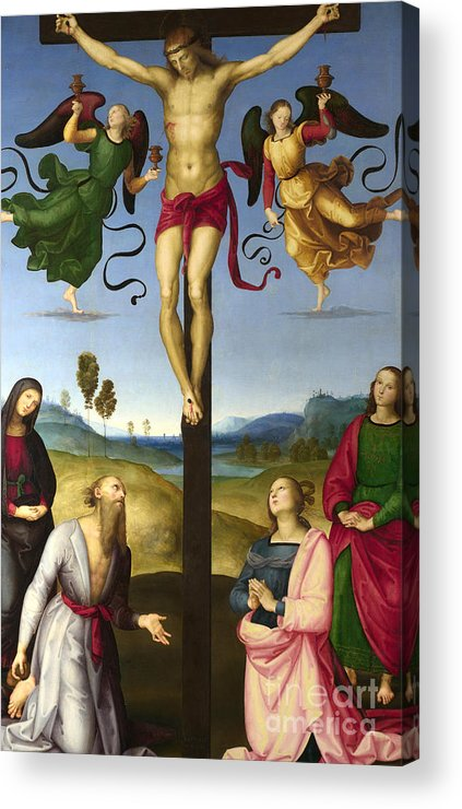 Christian Acrylic Print featuring the painting The Crucified Christ With The Virgin Mary, Saints And Angels The Mond Crucifixion by Raphael